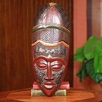 African wood mask, 'Baule Beauty' - African Tribal Female Traditional Wood Beauty Mask