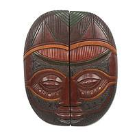 African wood mask, 'Wisdom in Unity' - Handmade Two Piece African Wood Decorative Mask