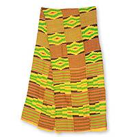 Cotton blend kente scarf, 'Akan Gold Dust' (14 inch width) - Handwoven African Yellow Kente Cloth Scarf (14 Inch Width)