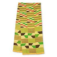 Cotton blend kente scarf, 'Inequality' (3 strips) - 3 Strip Handwoven Green and Yellow African Kente Scarf