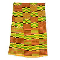 Cotton blend kente scarf, 'Akan Gold Dust' (19 inch width) - Handwoven African Yellow Kente Cloth Scarf (19 Inch Width)