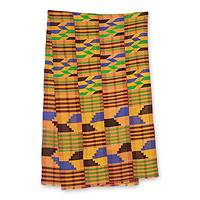Cotton blend kente scarf, 'Eclectic' (4 strips) - Four Strip Handwoven Multicolor African Kente Scarf