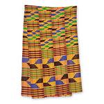 Four Strip Handwoven Multicolor African Kente Scarf, 'Eclectic'