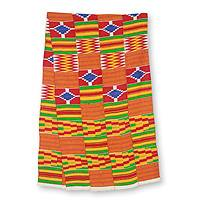 Cotton blend kente scarf, 'Shield' (4 strips) - 4 Strips Handwoven Red Yellow Green African Kente Scarf
