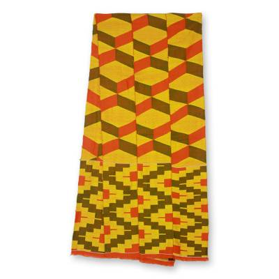 Cotton blend kente scarf, 'Double Wisdom' (3 strips) - Triple Strip Handwoven Yellow and Red African Kente Scarf