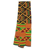 Cotton blend kente scarf, 'First Lady' (2 strips) - Bright Geometric Handwoven Cotton Blend Kente Scarf 2 Strips