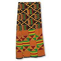 Cotton blend kente scarf, 'First Lady' (3 strips) - Bright Geometric Handwoven Cotton Blend Kente Scarf 3 Strips