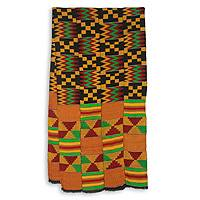 Cotton blend kente scarf, 'First Lady' (4 strips) - Bright Geometric Handwoven Cotton Blend Kente Scarf 4 Strips