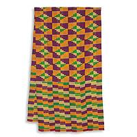 Cotton blend kente scarf, 'Wisdom for Two' (4 strips) - Four Strips Handwoven Yellow and Purple African Kente Scarf