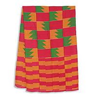 Cotton blend kente scarf, 'Fingers' (4 strips) - Four Strips Handwoven Pink and Orange African Kente Scarf