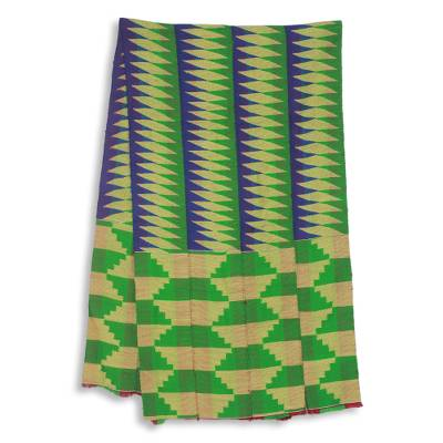 Cotton blend kente scarf, 'Finger of Wisdom' (4 strips) - Four Strips Handwoven Green and Blue African Kente Scarf