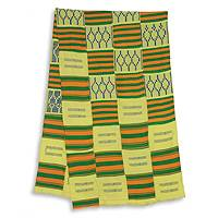 Cotton blend kente scarf, 'Time Changes' (4 strips) - Four Strips Handwoven Gold and Green African Kente Scarf