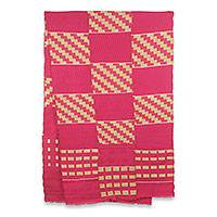 Cotton blend kente scarf, 'The Heart's Desire' (3 strips) - 3 Strip Hand Woven Yellow and Pink African Kente Scarf
