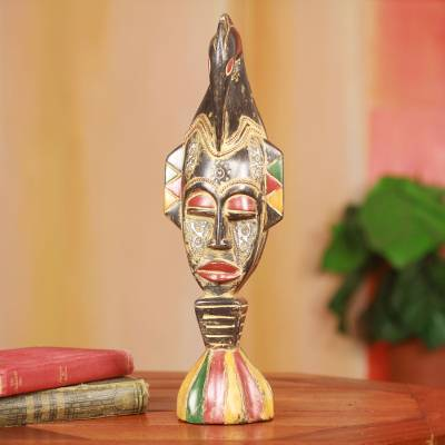 Wood sculpture, 'Akan Bird Mask' - Hand Carved African Mask Sculpture for Tabletop Display
