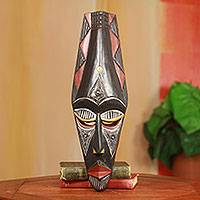 African wood mask, 'Adanaya' - Fair Trade African Decorative Wood Mask from Ghana