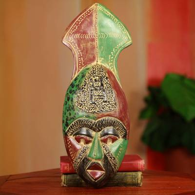 African mask, 'Mortality' - Red and Green Hand Carved African Mask from Ghana
