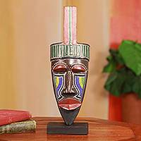 African mask, 'Hausa Man' - Authentic African Beaded Carved Wood Mask from Ghana