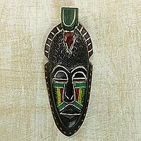 African beaded wood mask, 'Adom Parrot' - Recycled Glass Beaded African Wood Parrot Mask from Ghana