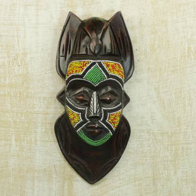African beaded wood mask, 'Dove Anoma Ba' - Recycled Glass Beaded African Wood Dove Mask from Ghana
