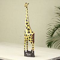 Wood sculpture, 'African Giraffe' - Hand Carved and Painted Yellow Wood Giraffe Sculpture