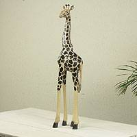 Wood sculpture, 'Black Spotted Giraffe' - African Hand Carved and Painted Tall Giraffe Wood Sculpture