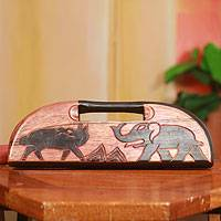 Oware wood table game, 'Elephant vs Dog' - Animal Themed Hand Carved Wood African Oware Table Game