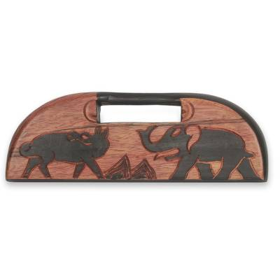 Animal Themed Hand Carved Wood African Oware Table Game