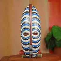 African mask, 'Brotherly Love' - Blue and White Stripes African Mask from Ghana