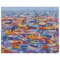 'Houses of Colors' - African Neighborhood Landscape Painting in Blue and Orange