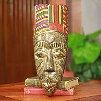 African mask, 'Frafra Identity' - Hand Carved African Mask with Ghanaian Kente Cloth