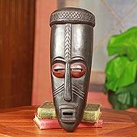 African wood mask, 'Mo Ne Kasa' - Good Speech African Wood Mask Carved by Hand