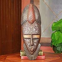 African wood mask, 'Akan Ohene' - African Royal Mask Original Akan King Wood Art