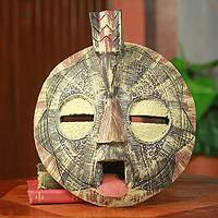 African wood mask, 'Fatse' - Hand Carved African Mask of Forgiveness with Bird