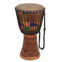 Wood djembe drum, 'Joyous Beat' - Authentic Handcrafted African Djembe Drum with Kente Cloth