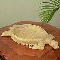 Wood decorative tray, 'Sea Turtle' - Adinkra Turtle Theme Hand Carved Wood Tray from Ghana
