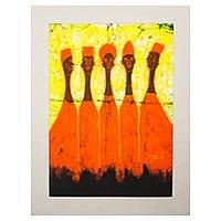 Batik art, 'Five in Orange' - Original Signed Matted Cotton Batik Art from Africa