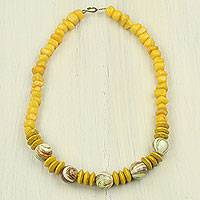 Agate beaded necklace, Bold Sunshine - Yellow Agate and Wood Beaded Necklace from Ghana