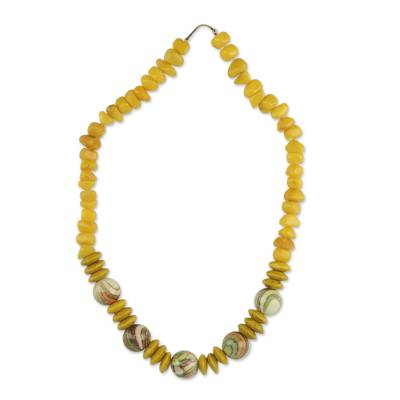Yellow Agate and Wood Beaded Necklace from Ghana