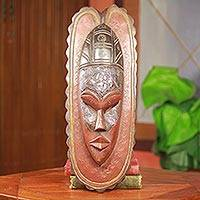 African wood mask, 'Good Friend' - Ornate Hand Carved Ghana African Mask with Embossed Metal