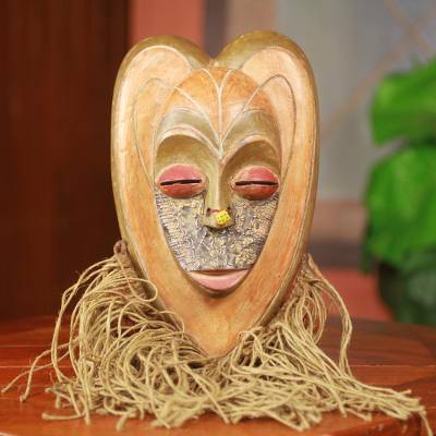 African wood mask, 'Comforting Heart' - Heart Shaped Hand Crafted Bearded African Mask