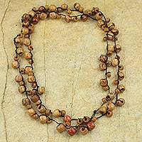 Beaded long necklace, 'Chakachaka' - Women's Long Necklace with Wood and Recycled Beads