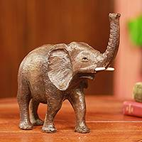 Ebony sculpture, 'Proud African Elephant' - Realistic Hand Carved Ebony Elephant Sculpture from Africa