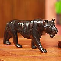 Teakwood sculpture, 'Black Jaguar' - Hand Carved Teakwood Jaguar Sculpture from Africa