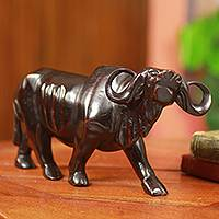 Teakwood sculpture, 'Cape Buffalo' - African Cape Buffalo Sculpture Hand Carved from Teakwood