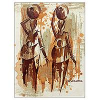 'Two Paddies' - Signed Original Painting of Female Friends in Africa