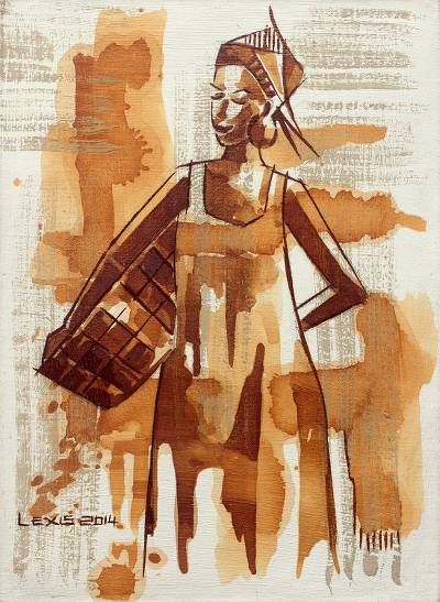 'A Journey to the Farm' - Original Acrylic Portrait Painting of African Farm Woman