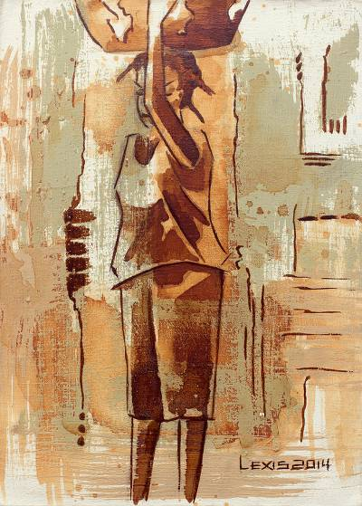 'Araba' - Expressionist Painting of Young Girl from Ghanaian Artist