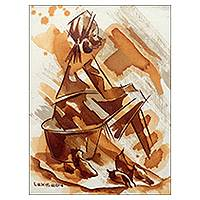 'Cassava For Sale' - African Original Art Portrait of Girl Selling Cassava Root
