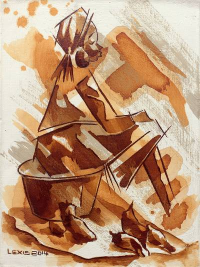 'Cassava For Sale' - African Original Art Portrait of Girl Selling Cassava Root