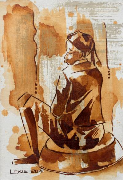 'Sister Ama' - African Expressionist Portrait of Seated Young Woman